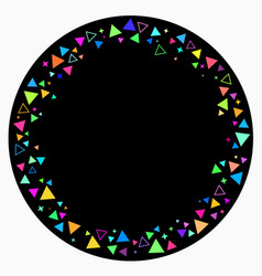 round frame scattering multicolored triangles vector image