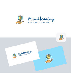 Safe world logotype with business card template vector