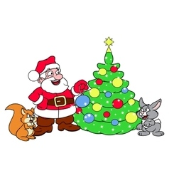 Santa decorating Christmas tree 3 vector