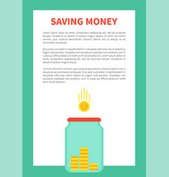 Saving money and glass bottle for coins holding vector