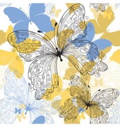 seamless floral pattern with butterfly vector image