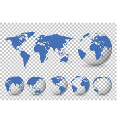 Set globes with different continents and a map vector