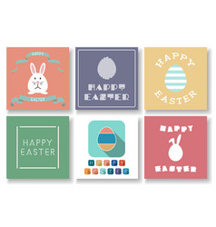 set happy easter colorful cards vector image