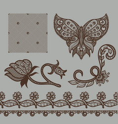 set of decorative elements lace patterns vector image