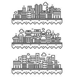 simple city silhouette linear thin vector image