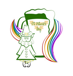 Sketch of a beer with a rainbow and irish elf vector