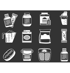 Sports supplements white icons vector