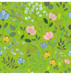 Spring Watercolor Flowers Green Seamless Pattern vector image