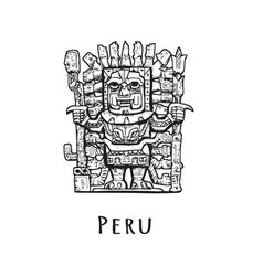 Stone statue of peru vector