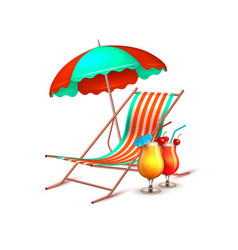 Summer vacation cocktail umbrella lounger vector