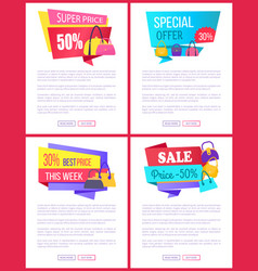 Super price special offer best cost week sale set vector