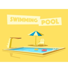 Swimming pool with a diving board Cartoon vector
