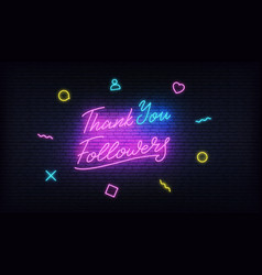 Thank you followers neon social media template vector