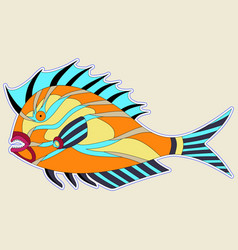 Thick fish monster with spiny fins in orange tones vector
