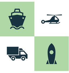 transport icons set collection of spaceship vector image