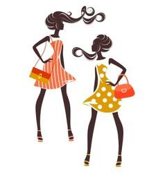Two girls in elegant dresses vector image