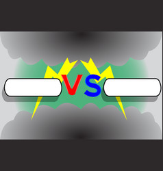versus screen with frames zippers and clouds vector image