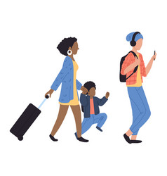 walking people at airport vector image