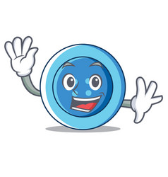 Waving clothing button character cartoon vector