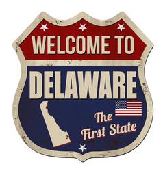 Welcome to delaware vintage rusty metal sign vector