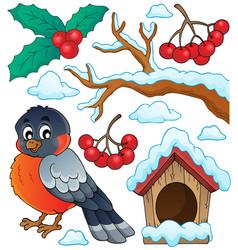 winter bird theme collection 1 vector image