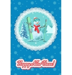Winter sport Snowman with ski vector