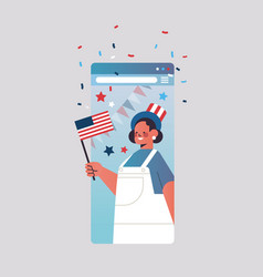 Woman in festive hat holding flag celebrating 4th vector