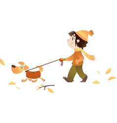 A girl walking with her dog vector image vector image