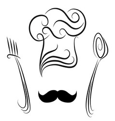 Chef hat with spoon and fork vector image