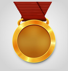 emty award gold medal with red ribbon vector image