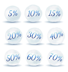 Snowball icons with discount isolated on white vector