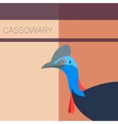 Cassowary Flat Postcard vector image vector image