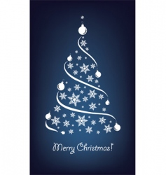 Christmas tree blue vector image vector image