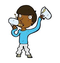 comic cartoon man drinking beer vector image