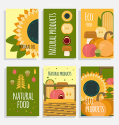 natural food concept cards vector image vector image