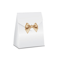 realistic white 3d model cardboard gift box empty vector image vector image