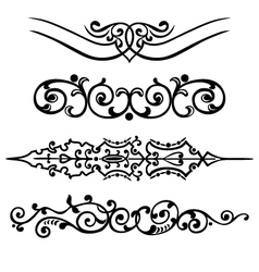set swirling decorative elements ornament vector image