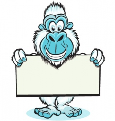 yeti holding sign vector image vector image