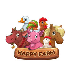 happy farm title banner for game design vector image