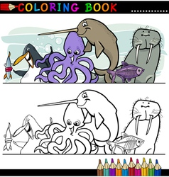 Marine and Sea Life Animals for Coloring vector image vector image