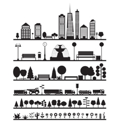 Silhouette City Park Forest Road Elements vector image vector image