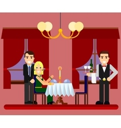 Young romantic couple date in restaurant vector image vector image