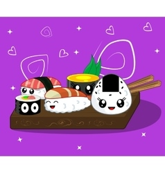 cute kawaii cartoon rolls vector image vector image