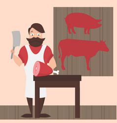 flat butcher shop design elements and icons meat vector image vector image