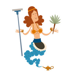 genie djinn cleaning girl character magic lamp vector image