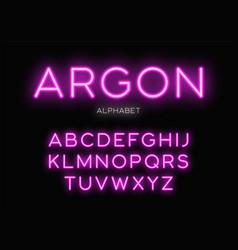 glowing neon typeface design alphabet vector image vector image