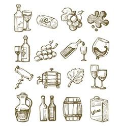 hand draw wine vector image