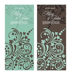 Set of antique wedding invitation card with vector image