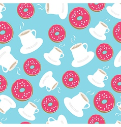 Tea and donuts seamless background pattern vector image vector image