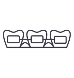 tooth braces line icon sign vector image vector image